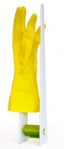 glove drying rack with yellow kitchen glove